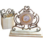 Ornate Hammered Bronze & Onyx Stone Desk Clock & Pen/Pencil Holder Set
