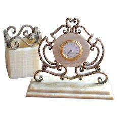 Ornate Hammered Bronze & Onyx Stone Desk Clock & Pen/Pencil Holder Set
