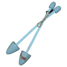 Cute Pair of Blue Painted Wood Ladies Shoe Stretchers or Shoe Trees