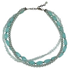 Sterling & Sky Blue Quartz, Dyed Blue Pearls & Star Shape Beaded Triple Strand Necklace