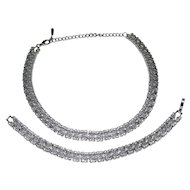 Designer Rhinestone Scalloped Edge Choker Necklace & Matching Bracelet Set