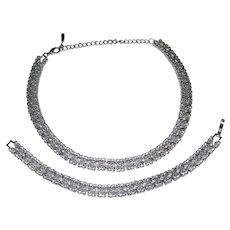 Designer Rhinestone Scalloped Edge Choker Necklace & Matching Bracelet Set
