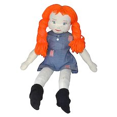 Handcrafted Pippi Longstocking Rag Doll w/ Flaming Red Yarn Hair, Undies & Socks!