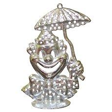 Signed TORINO Figural Circus Clown w/ Umbrella Earring Tree / Holder / Organizer