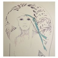 1970s William Tara Lady in Wide Brim Hat 28 x 22 Lithograph Art Print on Board USA