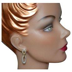 David Yurman Retired 1 Ct Diamond 18K Gold & Sterling Cable Doorknocker Earrings w/ Original Pouch
