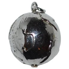 1971 World Globe Silvertone Charm or Pendant