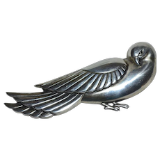 Rare 1940s Huge CORO STERLING Signed Dove Brooch/Pin