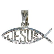 Mexico Sterling Silver JESUS Ichthus Fish Religious Pendant