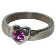 Sterling Silver Faceted Pink Stone Heart Ring ~ Size 7 3/4