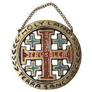 Enamel Jerusalem Crusaders' Cross Holy Land / Terra Sancta Religious Metal Plaque Wall Hanging