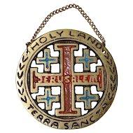 Enamel Jerusalem Crusaders' Cross Holy Land / Terra Sancta Religious Metal Plaque Wall Hanging
