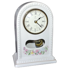 1994 Paul Sebastian PS Limited Edition White Porcelain Floral Pendulum Clock