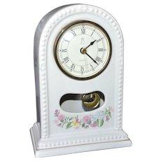 1994 Paul Sebastian PS Limited Edition White Porcelain Floral Pendulum Clock