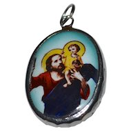 Large Jesus Christ or St. Christopher Oval Glass Sawtooth Setting Religious Pendant/Charm