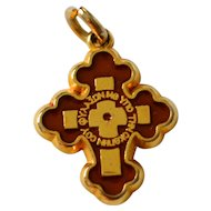 Double-Sided Red/Cream Enamel INRI Cross Religious Pendant or Charm
