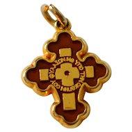Double-Sided Red/Cream Enamel INRI Cross Religious Pendant or Charm