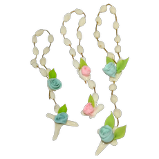 Darling Trio of Pink & Blue Rose CLAY Cross Rosary Bead Chaplets