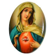 Virgin Mary Sacred Heart Catholic Lithograph Painting on Porcelain