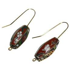 14K GF Asian Lantern Cloisonne Enamel Flower Dangle Earrings