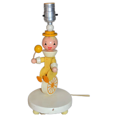 1960s Irmi Nursery Plastics Folk Art Clown on Unicycle Wood Lamp