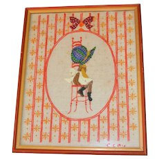 "1975 Large 22"" Holly Hobbie Hand Embroidery Folk Art in Orange Frame"