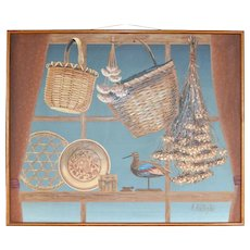 "HUGE 45"" Signed Folk Art Style Bird & Basket Framed Oil Painting"