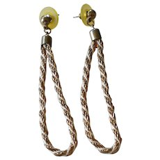 "1970s Long 3"" Twisted Rope Hoop Chain Dangle Earrings"
