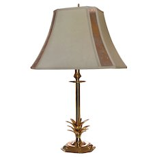 Stylized Brass Pineapple Table Lamp w/ Mica Lamp Shade