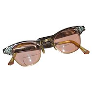 Circa 1950s 1/10 12K GF Rose Pink Aluminum Cat Eye Eyeglasses