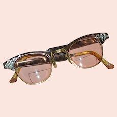Circa 1950s 1/10 12K GF Rose Pink Aluminum Cat Eye Eyeglasses