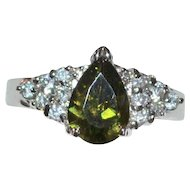 18k White Gold Electroplate Simulated Green Peridot & Diamond Cocktail Ring ~ Size 7