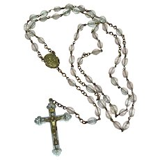 Very Old Ornate Bronze Christ Crucifix Cross Ribbed Glass Bead Rosary