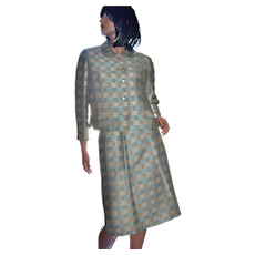 1950s French Room Continental Textured Blue Plaid Blazer & Pencil Skirt Set