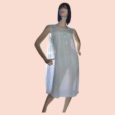 6427372678b 1960s Powder Blue Double Layer Chiffon Nylon   Lace Nightgown ~ Size Medium