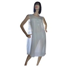 1960s Powder Blue Double Layer Chiffon Nylon & Lace Nightgown ~ Size Medium
