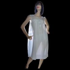 1960s Powder Blue Double Layer Chiffon Nylon & Lace Nightgown ~ Size Medium