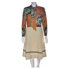 1960s Ethnic Boho Style Orange & Blue Large Bow Neck-tie Crochet Knit Skirt Dress