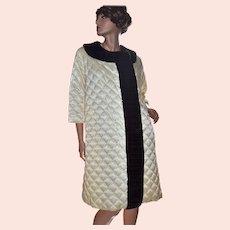 1960s Leisure Lovers California Quilted Beige & Brown Faux Fur Loungewear Robe