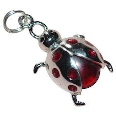 Sterling Silver Red Glass Rhinestone Ladybug Charm or Pendant
