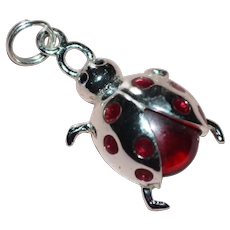 Sterling Silver Red Glass Rhinestone Ladybug Charm or Pendant