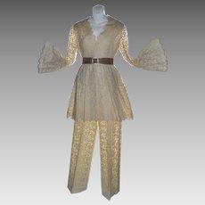 Nardiello for Rona Cream Crochet Lace Bell Sleeve Blazer & Jacket Pant Suit ~ Near Mint!