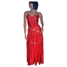 1970s Henson Kickernick Amazing Cherry Red Nylon & Lace Maxi Nightgown