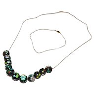 """14K Gold Black Asian Cloisonne Bead 20"""" Necklace & Fancy Box Clasp Bracelet"""