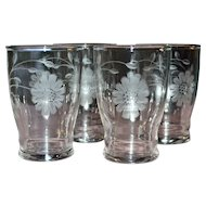Set of 4 White Etched Glass Daisy Flower Juice Glasses