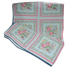 "Vintage Pink Tulip Blue Fabric Quilt Coverlet 49"" x 64"""