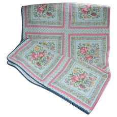 """Vintage Pink Tulip Blue Fabric Quilt Coverlet 49"""" x 64"""""""