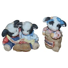 Retired Enesco Mary Rhyner Moo Moo Cow Set of 2 Potato Sack Race Figurines