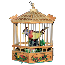 Handcrafted Singing Feather Bird in a Wood Birdcage WORKS!