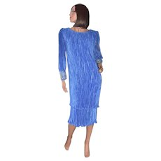 Karen Lawrence Pleated Royal Blue Sequin Sleeve Semi-Formal Dress